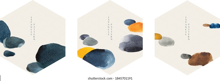 Japanese template vector with Geometric logo and hand drawn wave pattern. Abstract banner with gold watercolor texture background in vintage style.