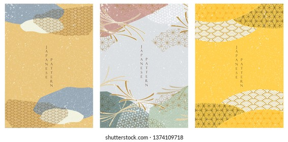 Japanese template vector. Geometric pattern background. Abstract shape elements.