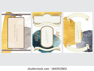 Japanese template vector. gold and black texture in Asian style with Japanese wave pattern. Ribbon background in oriental arts.