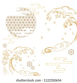 Japanese template vector. Gold icons background. Wave, flower, crest, bamboo elements.