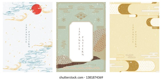 Japanese template vector. Hand drawn wave background. Line pattern in Asian style with Japanese pattern. Chinese sea in oriental arts. Natural luxury texture.