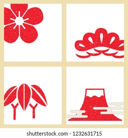 Japanese template vector. Red symbols crest background. Cherry blossom flower, bamboo, Fuji mountain elements.