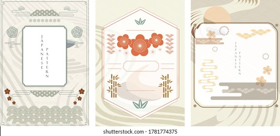 Japanese template vector. Zen garden background. Line pattern in Asian style with Japanese wave pattern. Chinese sea in oriental arts. Natural luxury texture.