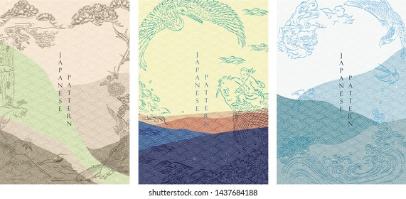 Japanese template with wave pattern vector. Hand drawn line art in traditional style. Landscape background with pine tree, carp fish, dragon, octopus, ocean elements.