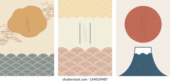 Japanese template with wave pattern vector. Sun and Fuji mountain background Asian style. Curve with hand drawn sea elements in oriental layout design.