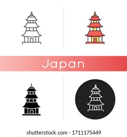 Japanese temple icon. Buddhist pagoda structure. Traditional shinto temple. Japanese style castle. Oriental architecture. Linear black and RGB color styles. Isolated vector illustrations