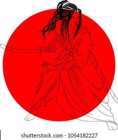 Japanese theme - abstract samurai illustration