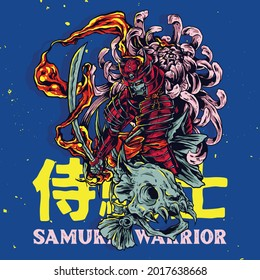 Japanese themed samurai warrior illustration with fish skull and flower for sticker poster and t-shirt design
