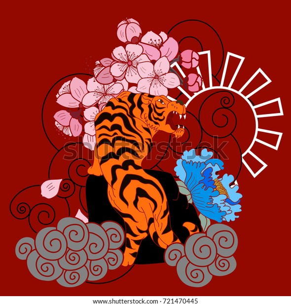 77cfedeab Japanese tiger with sakura for tattoo design.Chinese cloud and sun.