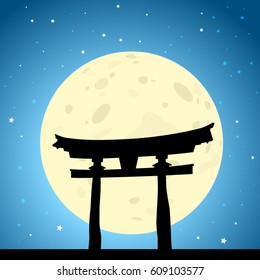 Japanese Tori Gate at Moonrise. EPS10 Vector