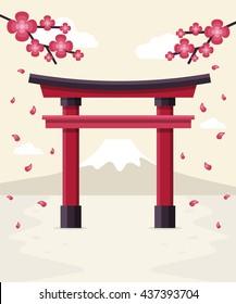 Japanese Tori Gate, Sakura Blossom and Mount Fuji at Background. Flat Design Style.