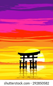 Japanese Tori Gate at Sunrise. Based on Itsukushima Shrine at Miyajima. EPS10 Vector