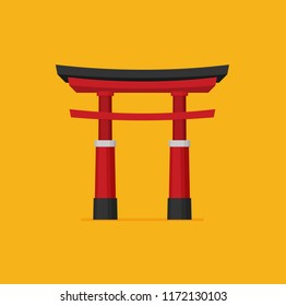 Japanese torii gate, national symbol, traditional structure, flat vector illustration. Flat style Japanese torii gate, national symbol, icon