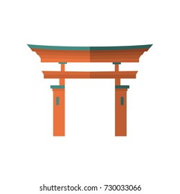 Japanese torii gate, national symbol, traditional structure, flat vector illustration isolated on white background. Flat style Japanese torii gate, national symbol, icon