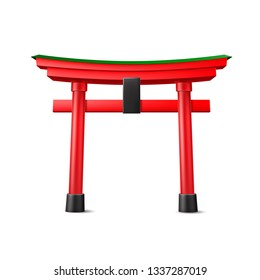 Japanese Torii gate. Realistic Symbol of Japan, shintoism religion. Red wooden sacred tori arch. Ancient entrance, Eastern heritage and landmark. Oriental religious architecture. Vector illustration