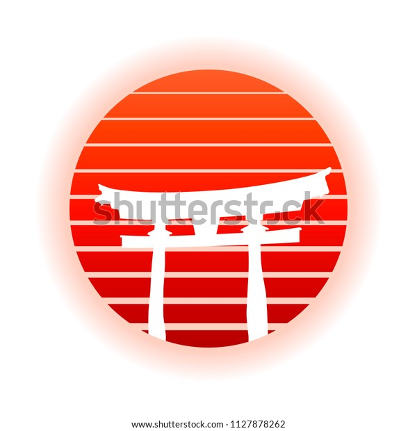 Japanese Torii Gate And Red Rising Sun. EPS10 Vector With Transparency