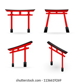 Japanese Torii red color perspective and isometric view illustration isolated on white background, vector eps 10