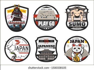 Japanese tradition and culture symbols. Vector welcome to Japan text with cat and Japanese hieroglyphs, Japan sumo school badge and samurai warrior, bonsai and ikebana floral design, go game
