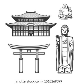 Japanese tradition, religion and culture symbols. Vector Torii gate and Shinto shrine or traditional Japanese house, Buddhism and Shintoi Buddha, Budai, Hotei or Pu-Tai monk statue icoins