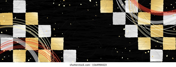 Japanese traditional check pattern. Gold and silver festive frame style design. The thin string-shaped item is a Japanese ornament called Mizuhiki