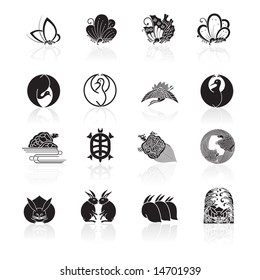 Japanese traditional coat of arms icons