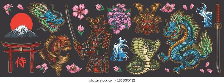 Japanische traditionelle bunte Elemente mit Drachen Samurai katanas torii gate koi Fisch fujiyama Berge Schlangen Seeschwellen Chrysanthemum und Sakura Blumen einzeln Vektorgrafik