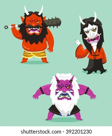 japanese traditional demon of asian folklore oni cartoon set