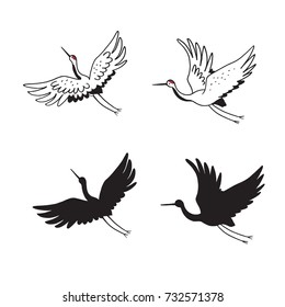 Japanese traditional doodle crane birds vector illustrations set.