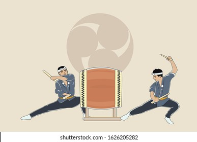 Japanese traditional drum performance in festival and a lot of  events. *祭り* means festival.