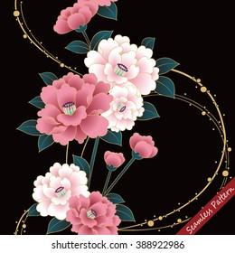 Japanese traditional floral kimono seamless pattern. Vector illustration