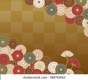 Japanese traditional floral pattern with chrysanthemum flowers