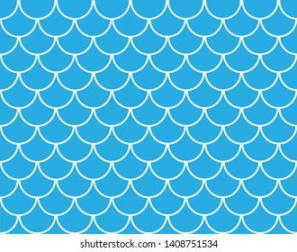 Japanese traditional ornament. Seamless Mermaid Pattern. Seamless blue fish scales. Fish Scale symbol. Abstract concept monochrome geometric pattern.