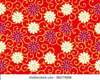Japanese traditional pattern -  chrysanthemum karakusa
