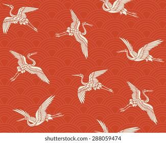 Japanese traditional pattern. Crane.
