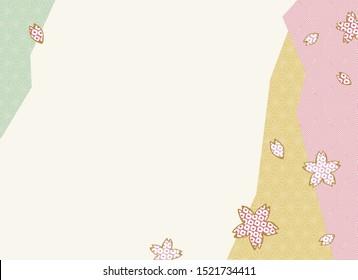 Japanese traditional sakura: cherry blossom retro style illustration vector background