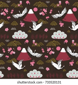 Japanese traditional seamless vector doodle pattern with flying birds cranes.