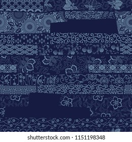 Japanese traditional style fabric patchwork wallpaper, abstract floral vector  seamless pattern