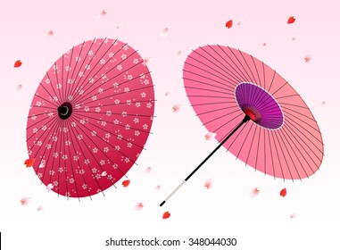 Japanese traditional umbrella with cherry blossom Spring background. Vector illustration