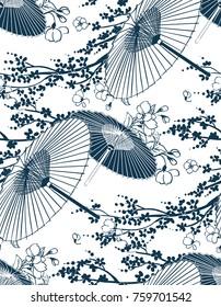 japanese traditional vector illustration sakura umbrella pattern