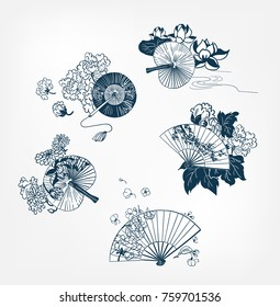 japanese traditional vector illustration set funs and flowers peony lily sakura