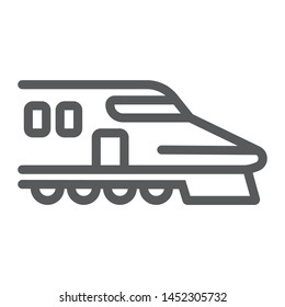 Japanese train line icon, asian and railroad, bullet train sign, vector graphics, a linear pattern on a white background, eps 10.