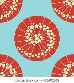 Japanese umbrella polka dot style seamless pattern vector