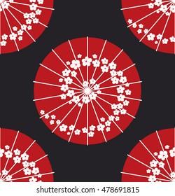 Japanese umbrella polkadot style seamless pattern vector