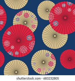 Japanese umbrella seamless pattern. Vector Illustration