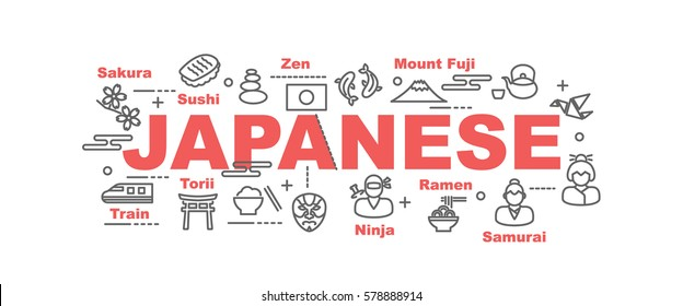 japanese vector banner design concept, flat style with thin line art icons on white background