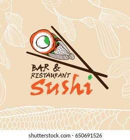 Japanese vector logo design template with fish and chopsticks. Concept for sea food restaurant, sushi menu, bar, delivery of asian food