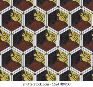 Japanese vector seamless pattern kaleidoscope