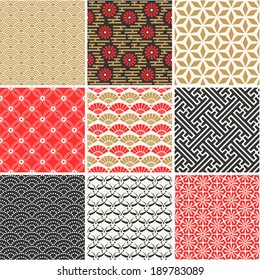 Japanese vector seamless patterns set