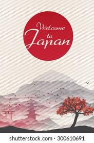 Japanese Vintage Background Postcard Template - Vector Illustration