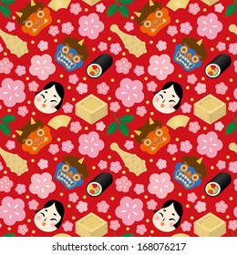 Japanese wallpaper. Setsubun:Japanese traditional event on February 3. People throw soy-beans at devil and eat roll-sushi.